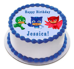 PJ MASKS 3 Edible Birthday Cake Topper OR Cupcake Topper, Decor