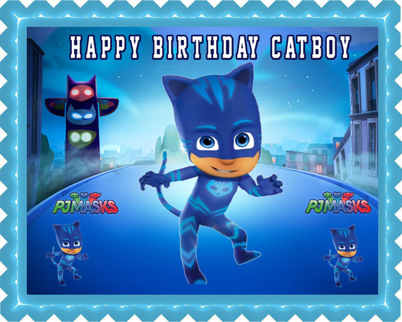 PJ Masks Cat Boy Edible Birthday Cake Topper OR Cupcake Topper, Decor