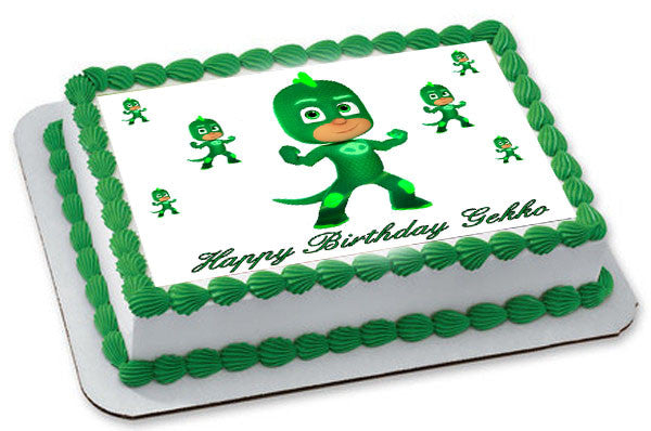 PJ Masks Gekko Edible Birthday Cake Topper OR Cupcake Decor