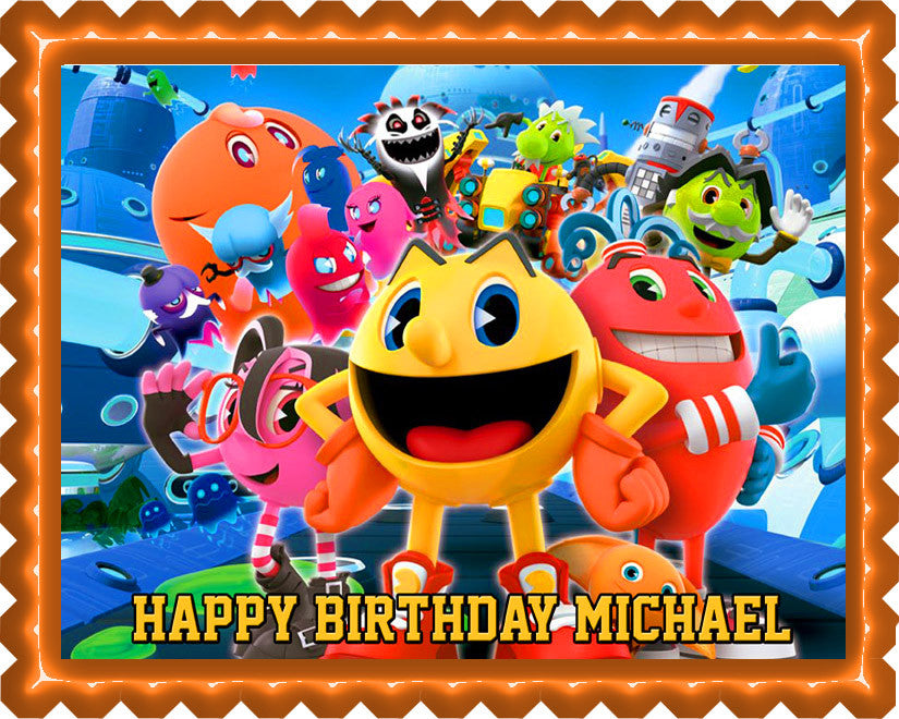Pac-Man and the Ghostly Adventures Edible Birthday Cake Topper OR Cupcake Topper, Decor - Edible Prints On Cake (Edible Cake &Cupcake Topper)