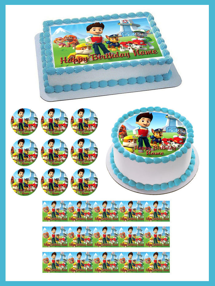 Paw Patrol 2 Edible Birthday Cake Topper OR Cupcake Topper, Decor