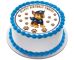 Paw Patrol Chase Edible Birthday Cake Topper OR Cupcake Topper, Decor