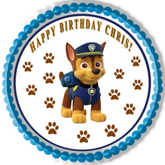 Paw Patrol Chase - Edible Cake Topper OR Cupcake Topper, Decor