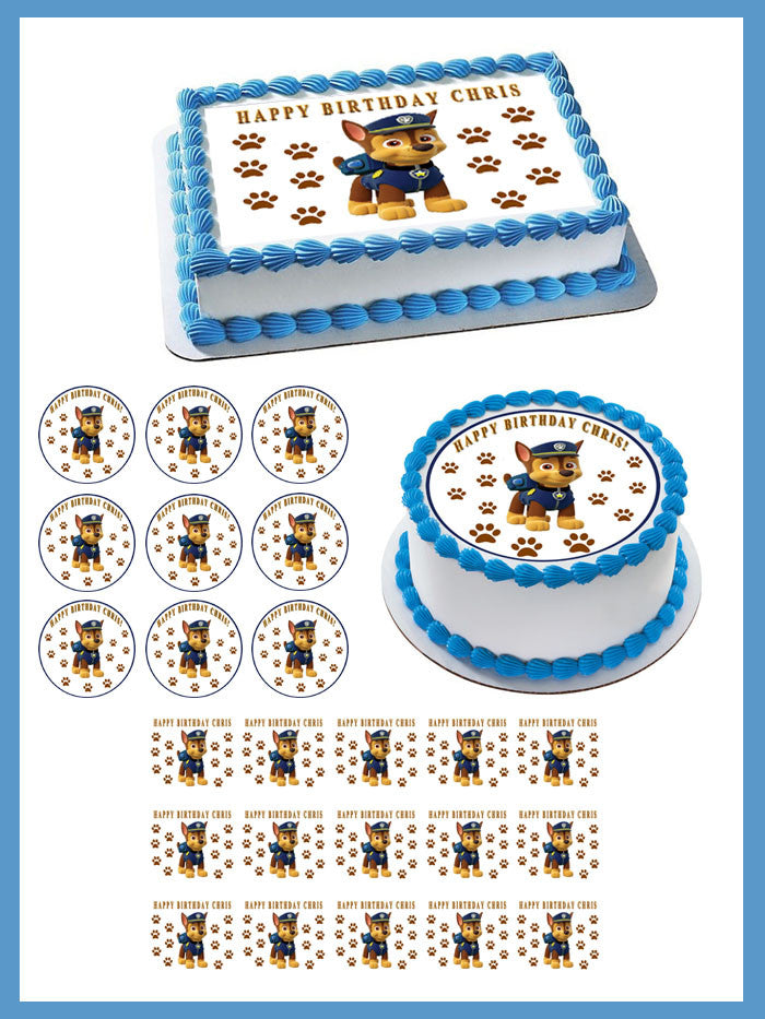 Paw Patrol Chase Edible Birthday Cake Topper OR Cupcake Decor