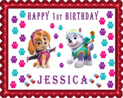 Paw Patrol Everest and Skye Edible Birthday Cake Topper OR Cupcake Topper, Decor - Edible Prints On Cake (Edible Cake &Cupcake Topper)