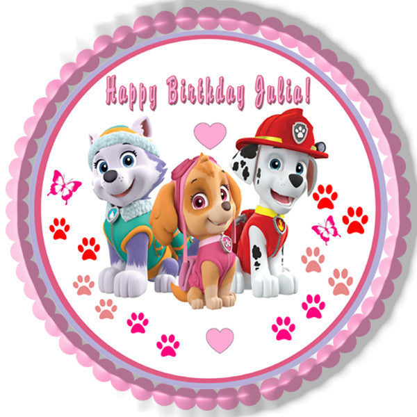Paw Patrol Girls Edible Birthday Cake Topper OR Cupcake Decor