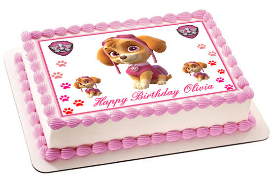 PAW PATROL SKYE 2 Edible Birthday Cake Topper OR Cupcake Decor