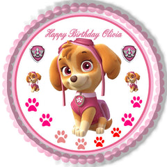 PAW PATROL SKYE 2 Edible Birthday Cake Topper OR Cupcake Topper, Decor - Edible Prints On Cake (Edible Cake &Cupcake Topper)