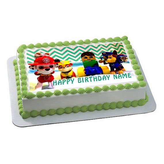 Paw Patrol Lego Edible Birthday Cake Topper OR Cupcake Topper, Decor - Edible Prints On Cake (Edible Cake &Cupcake Topper)