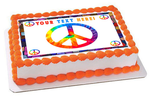 Peace Sign - Edible Cake Topper, Cupcake Toppers, Strips