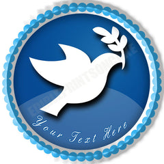 Peace Dove Edible Birthday Cake Topper OR Cupcake Topper, Decor