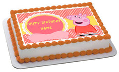 Peppa Pig 1 Edible Birthday Cake Topper OR Cupcake Topper, Decor - Edible Prints On Cake (Edible Cake &Cupcake Topper)