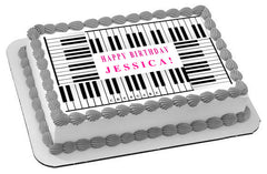 Piano Keys Edible Birthday Cake Topper OR Cupcake Topper, Decor - Edible Prints On Cake (Edible Cake &Cupcake Topper)