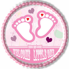 Pink Baby Feet Foot Edible Birthday Cake Topper OR Cupcake Topper, Decor