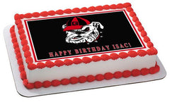 Georgia Bulldogs Edible Birthday Cake Topper OR Cupcake Topper, Decor - Edible Prints On Cake (Edible Cake &Cupcake Topper)