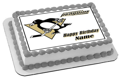 Pittsburgh Penguins - Edible Cake Topper OR Cupcake Topper, Decor