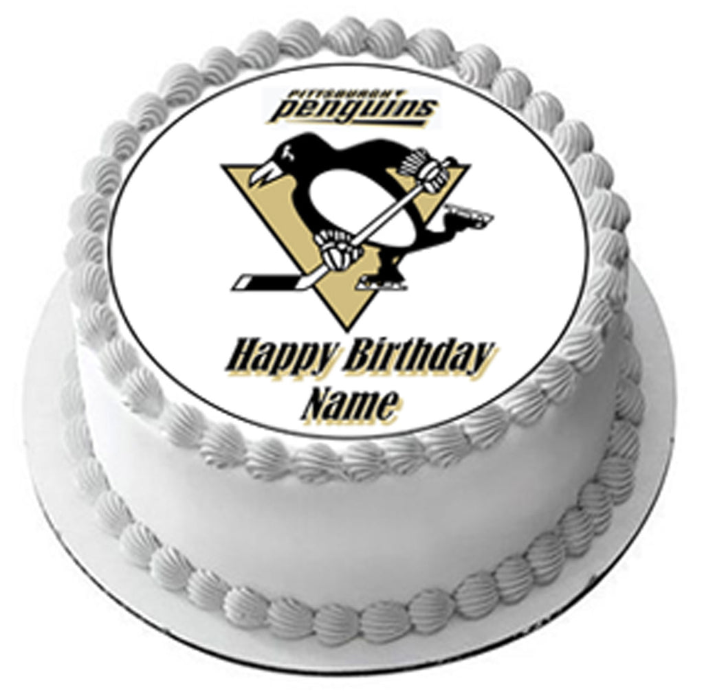 Astonishing Pittsburgh Penguins Edible Cake Topper Or Cupcake Topper Decor Funny Birthday Cards Online Aeocydamsfinfo