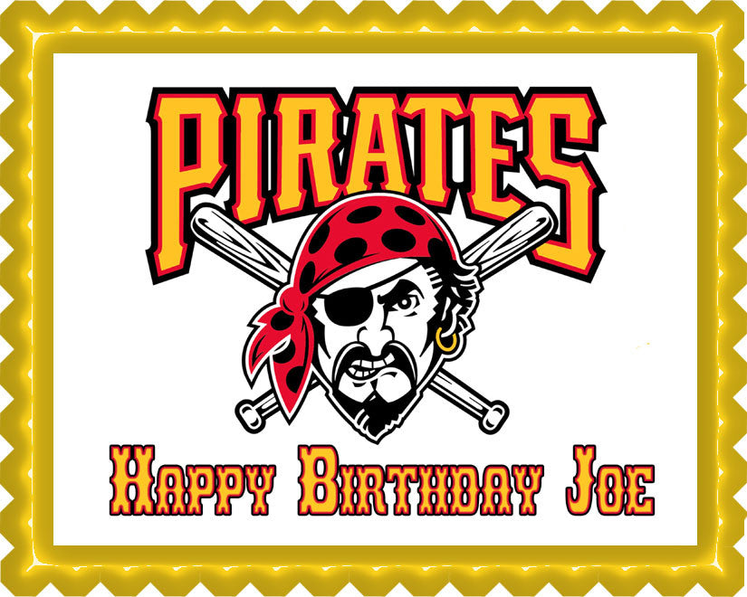 Excellent Pittsburgh Pirates 2 Edible Cake Or Cupcake Topper Edible Prints Funny Birthday Cards Online Aeocydamsfinfo