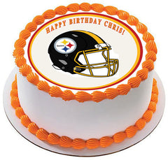 Pittsburgh Steelers Edible Birthday Cake Topper OR Cupcake Topper, Decor