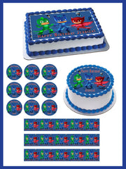 PJ Masks 5 Edible Birthday Cake Topper OR Cupcake Topper, Decor