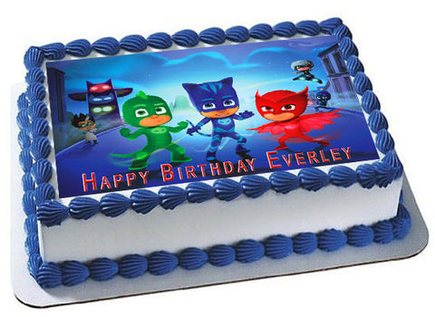 PJ MASKS (Nr1) - Edible Cake Topper OR Cupcake Topper, Decor