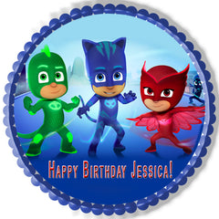 PJ MASKS 1 Edible Birthday Cake Topper OR Cupcake Topper, Decor - Edible Prints On Cake (Edible Cake &Cupcake Topper)