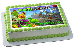 Plants vs Zombies 1 Edible Birthday Cake Topper OR Cupcake Topper, Decor - Edible Prints On Cake (Edible Cake &Cupcake Topper)