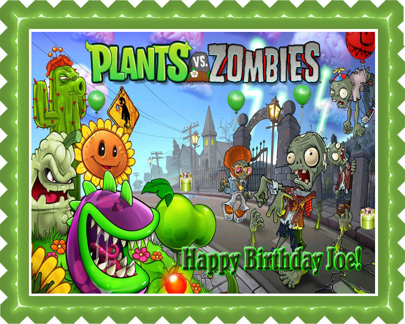 Enjoyable Plants Vs Zombies 1 Edible Birthday Cake Or Cupcake Topper Personalised Birthday Cards Veneteletsinfo