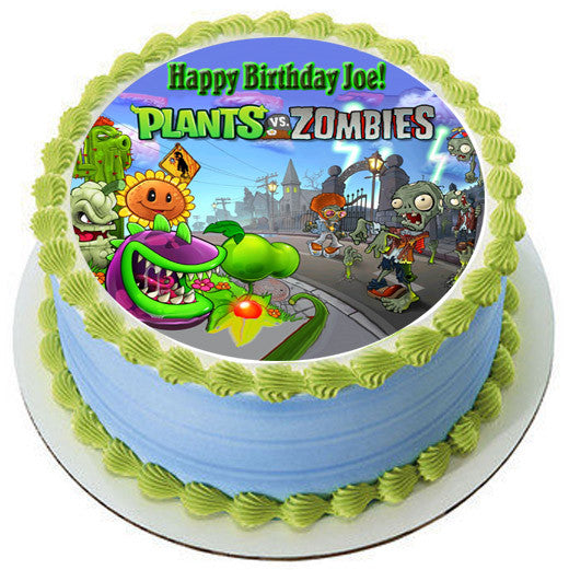 Plants vs Zombies 1 Edible Birthday Cake OR Cupcake Topper Edible