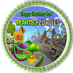 Plants vs Zombies 1 Edible Birthday Cake Topper OR Cupcake Topper, Decor