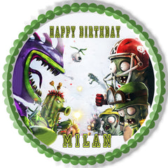 Plants vs Zombies 3 Edible Birthday Cake Topper OR Cupcake Topper, Decor - Edible Prints On Cake (Edible Cake &Cupcake Topper)