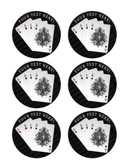 Playing Cards 4 A - Edible Cake Topper, Cupcake Toppers, Strips