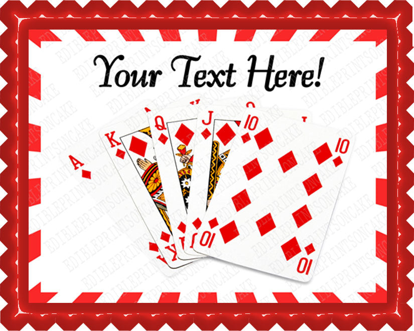 Playing Poker Cards II - Edible Cake Topper, Cupcake Toppers, Strips