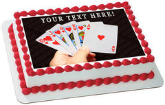 Playing Poker Cards - Edible Cake Topper, Cupcake Toppers, Strips