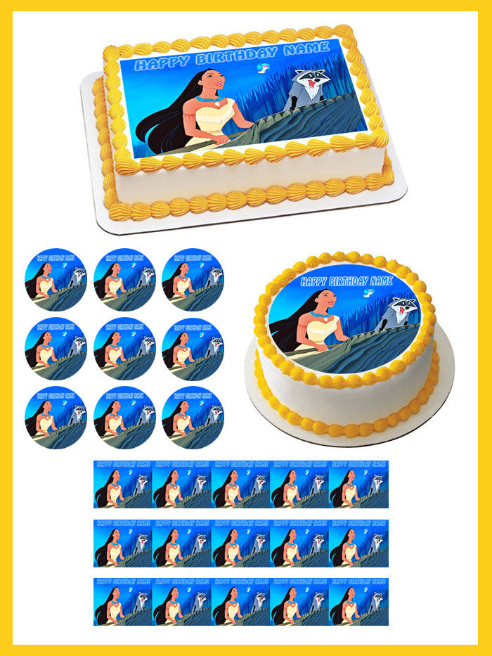 Peachy Pocahontas Edible Birthday Cake Or Cupcake Topper Edible Prints Personalised Birthday Cards Cominlily Jamesorg