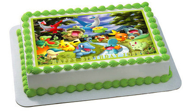 Pokemon Forest Edible Birthday Cake Or Cupcake Topper