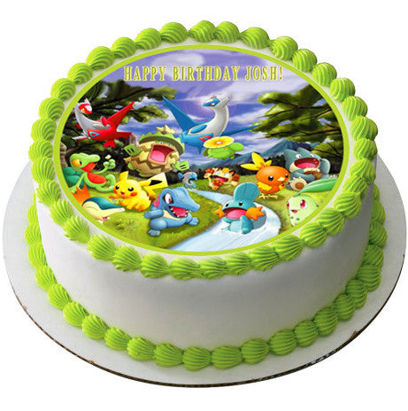 Pokemon Forest Edible Birthday Cake OR Cupcake Topper ...