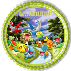 Pokemon Forest Edible Birthday Cake Topper OR Cupcake Topper, Decor - Edible Prints On Cake (Edible Cake &Cupcake Topper)