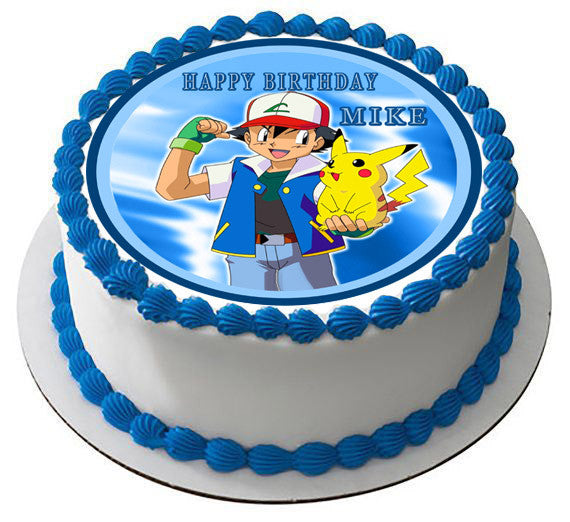 Edible Cake Images Pokemon : POKEMON PIKACHU Edible Birthday Cake OR Cupcake Topper ...