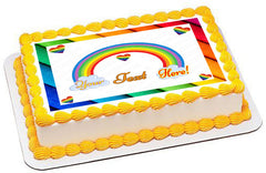 Rainbow Theme - Edible Cake Topper, Cupcake Toppers, Strips