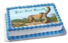 Roaming Cheetah, Safari, Wild - Edible Cake Topper, Cupcake Toppers, Strips