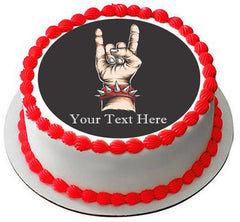 Rock & roll hand - Edible Cake Topper, Cupcake Toppers, Strips