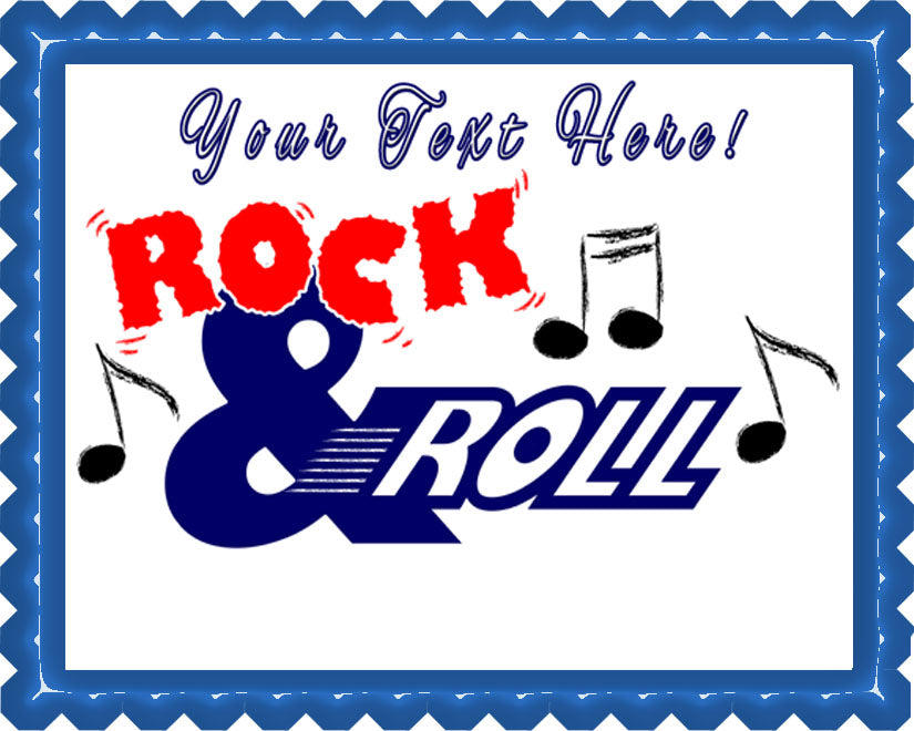 Rock & Roll - Edible Cake Topper, Cupcake Toppers, Strips