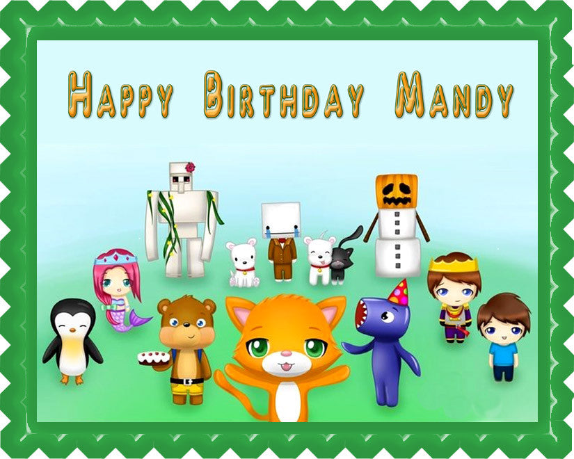 STAMPY CAT AND HIS FRIENDS Edible Birthday Cake Topper OR Cupcake Topper, Decor - Edible Prints On Cake (Edible Cake &Cupcake Topper)