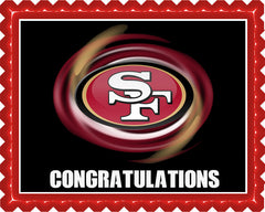 San Francisco 49ers B Edible Birthday Cake Topper OR Cupcake Topper, Decor