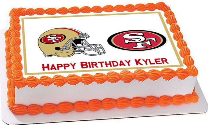 Superb San Francisco 49Ers Edible Cake Topper Or And Cupcake Toppers Funny Birthday Cards Online Overcheapnameinfo