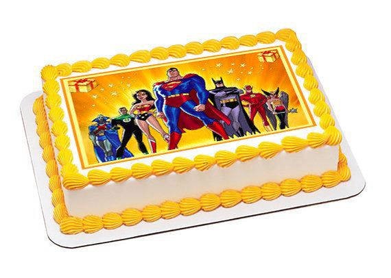 Superheroes Edible Birthday Cake Topper OR Cupcake Topper, Decor - Edible Prints On Cake (Edible Cake &Cupcake Topper)