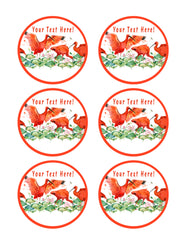 Scarlet Ibis Tropical Bird - Edible Cake Topper, Cupcake Toppers, Strips