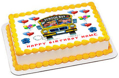 School Bus  Edible Birthday Cake Topper OR Cupcake Topper, Decor