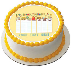 School Timetable - Edible Cake Topper, Cupcake Toppers, Strips